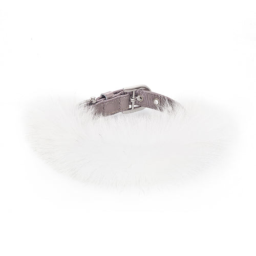 White fox hair leather pet collar