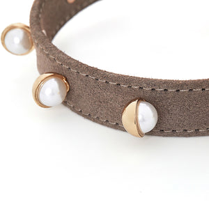 shell pearls leather pet collar
