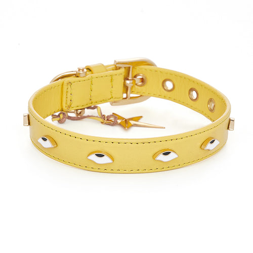 eye rolling pet collar yellow