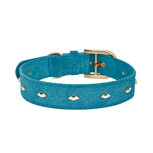 eye rolling pet collar blue