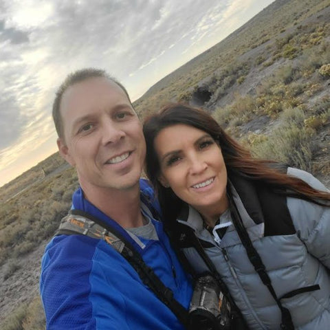 Desert picture with Jill and Rob Carroll, owners of Dinomite Rocks and Gems.