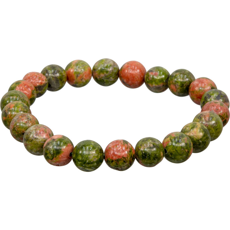 Unakite Natural Elastic Beaded Bracelet | Dinomite Rocks and Gems