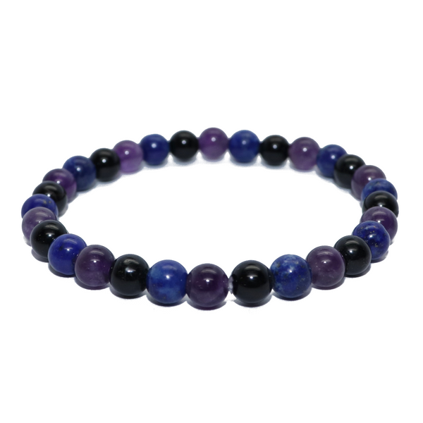 Amethyst, Lapis, Black Tourmaline Natural Beaded Bracelet