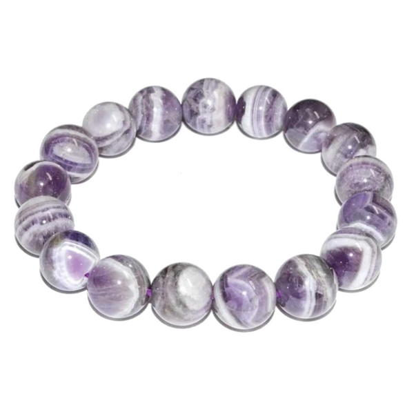 Amethyst Chevron Natural Beaded Bracelet
