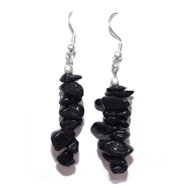 Black Tourmaline Chip Earrings For Sale | Dinomite Rocks and Gems