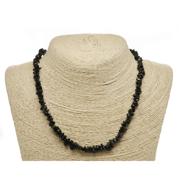 Black Tourmaline Natural Beaded Chip Necklace