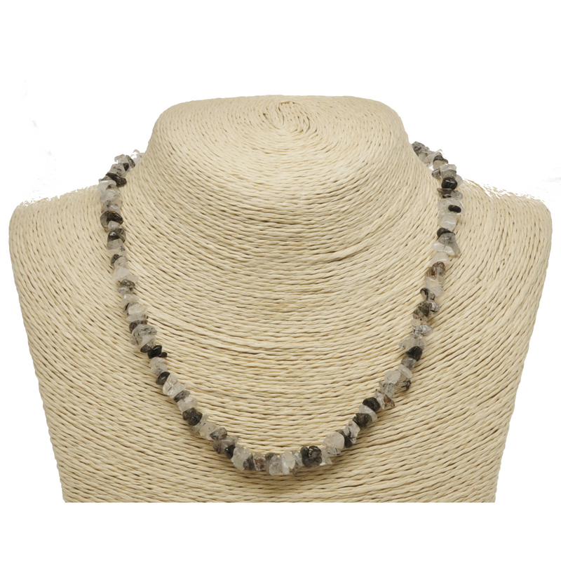 Black Tourmaline in Quartz Natural Beaded Chip Necklace