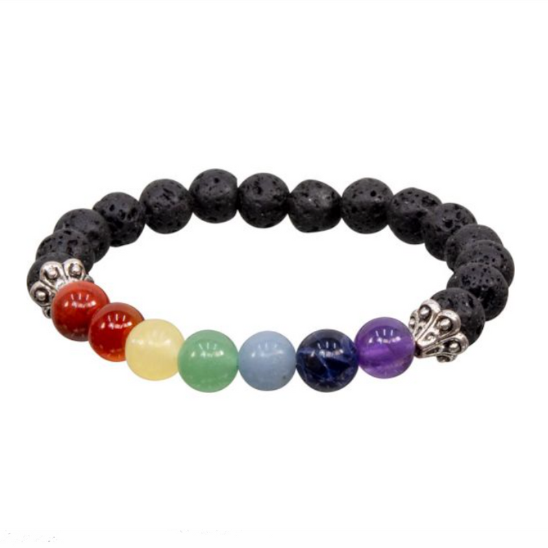 Chakra Lava Natural Beaded Bracelet