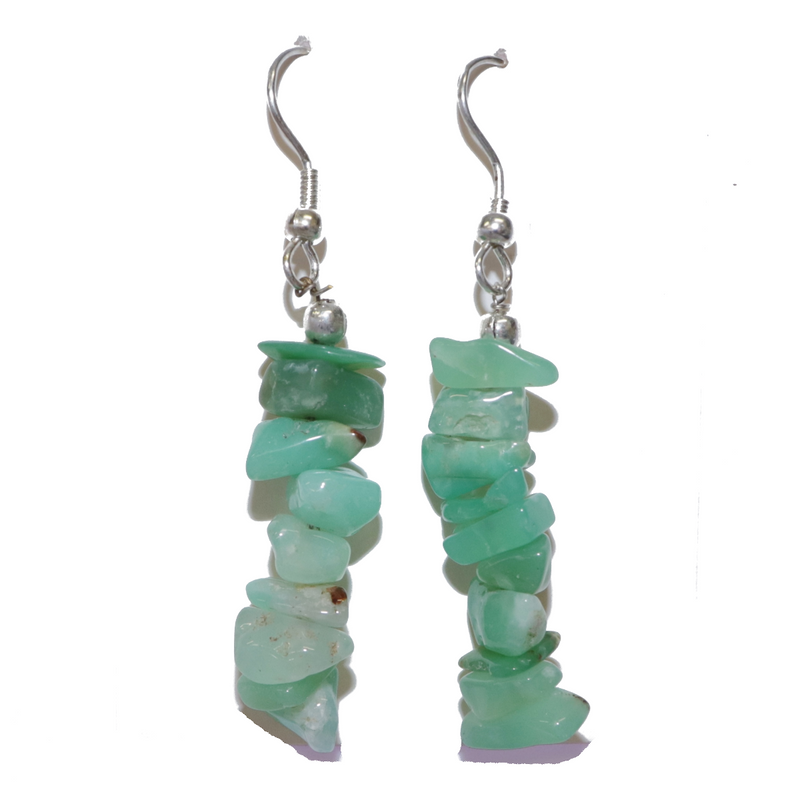 Chrysoprase Chip Earrings For Sale | Dinomite Rocks and Gems