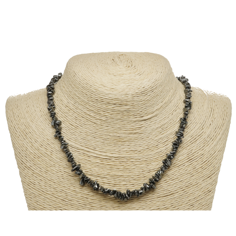 Hematite Natural Beaded Chip Necklace