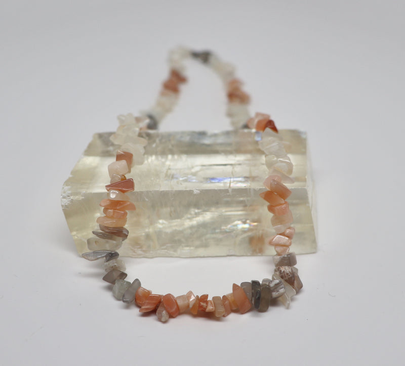 Moonstone Multi-Color Necklace Crystal Beaded Chip | Dinomite Rocks and Gems