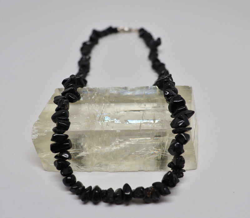 Black Tourmaline Necklace Crystal Beaded Chip | Dinomite Rocks and Gems