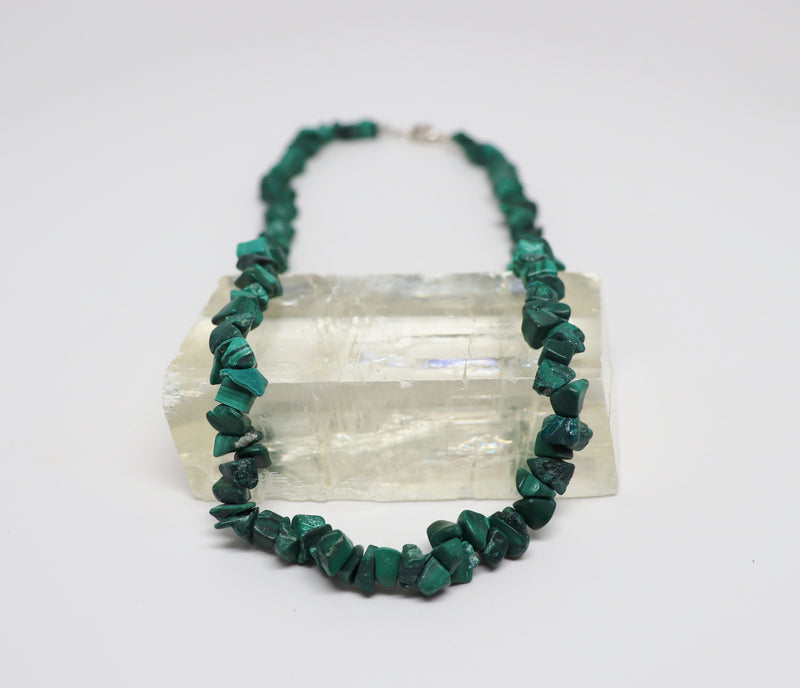 Malachite Natural Beaded Chip Necklace