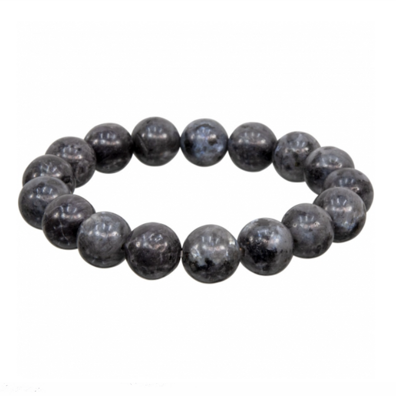 "Men's Larvakite ""Blue Pearl"" Natural Beaded Bracelet"