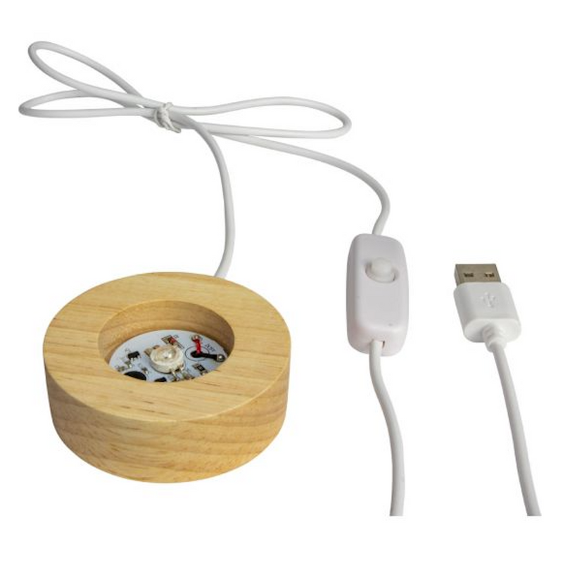 Wood LED Light Display Base w/ USB Cord - Small 7 Colors