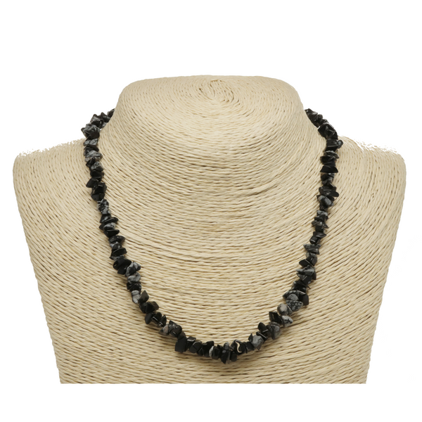 Snowflake Obsidian Natural Beaded Chip Necklace