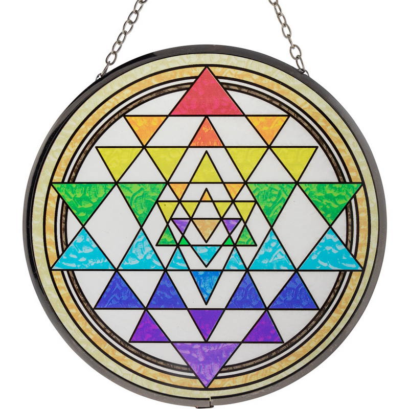 Glass Suncatcher 6in - Sri Yantra Chakras