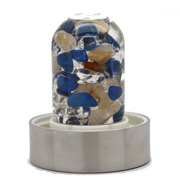 Vitajuwel Water Bottle - Rutilated Quartz, Lapis and Clear Quartz