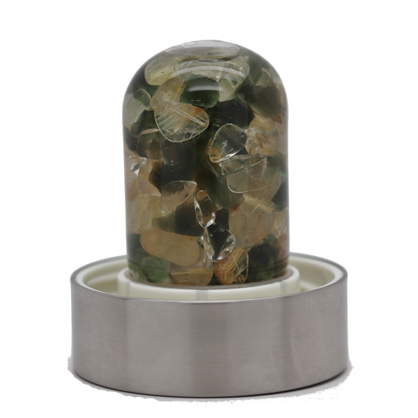 Vitajuwel Water Bottle - Moldavite and Rutilated Quartz
