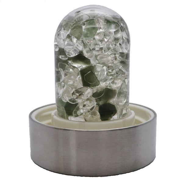 Vitajuwel Water Bottle - Moldavite and Clear Quartz