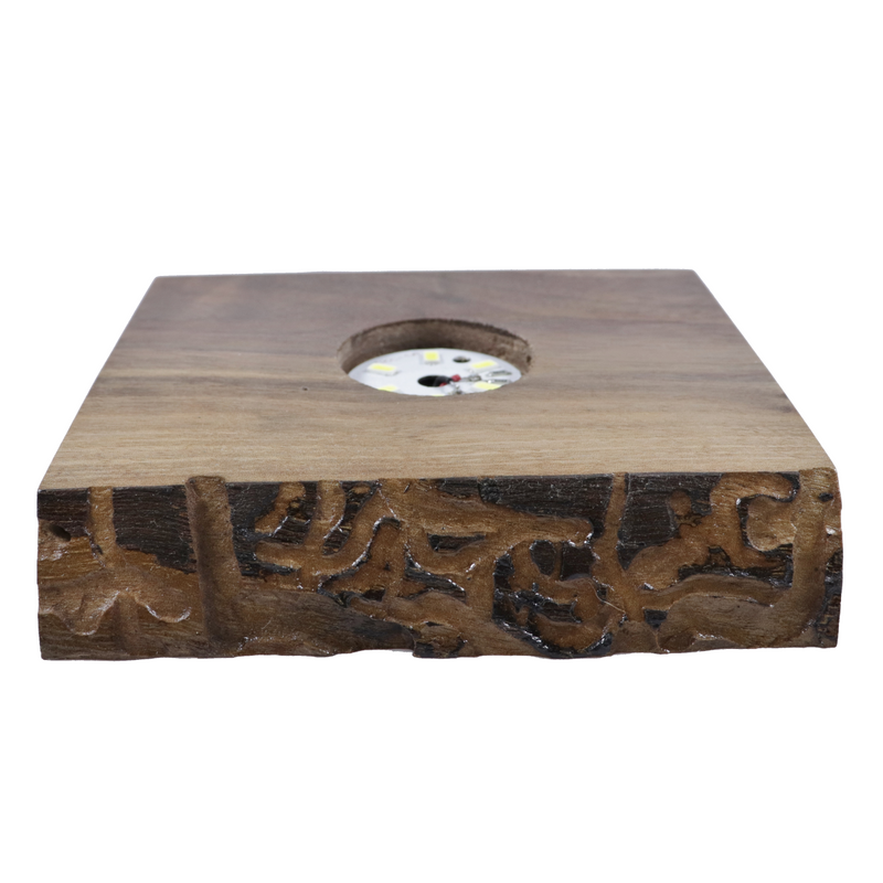 "Wood LED Light Display Base w/ USB Cord 4.60"" wide, 4.00"" deep, .90"" thick"