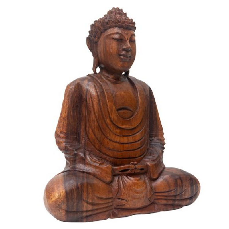Hand Carved Wood Meditating Buddha for Sale | Dinomite Rocks and Gems