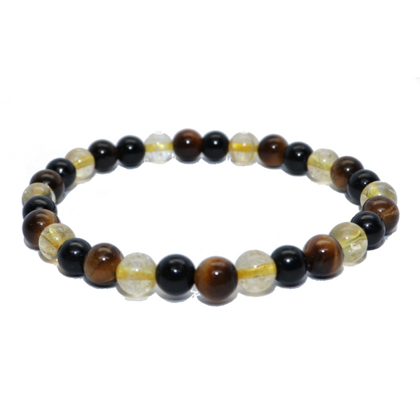 Tiger Eye, Citrine, Black Tourmaline Natural Beaded Bracelet