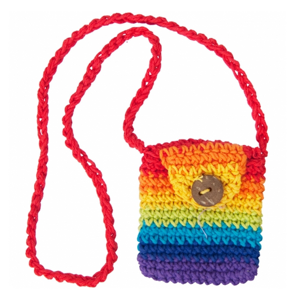 Cotton Crystal Pouch Crocheted Rainbow
