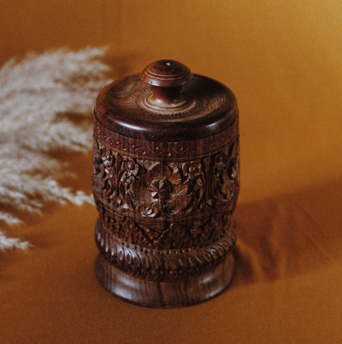 Wood Carved Spice Canister