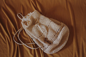 Raffia Drawstring Backpack