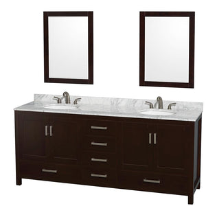 Wyndham Collection 80 inch Double Bathroom Vanity in Espresso, White Carrara Marble Countertop, Undermount Oval Sinks, and 24 inch Mirrors
