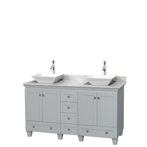 Wyndham Collection 60 inch Double Bathroom Vanity in Oyster Gray, White Carrara Marble Countertop, Pyra White Porcelain Sinks, and No Mirrors