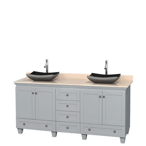 Wyndham Collection 72 inch Double Bathroom Vanity in Oyster Gray, Ivory Marble Countertop, Altair Black Granite Sinks, and No Mirrors
