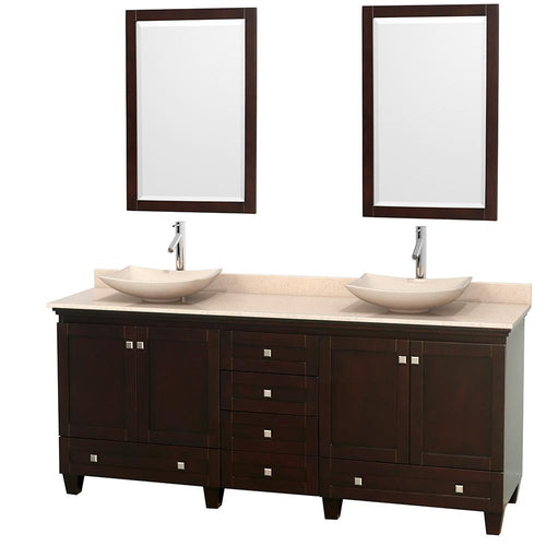 Wyndham Collection 80 inch Double Bathroom Vanity in Espresso, Ivory Marble Countertop, Arista Ivory Marble Sinks, and 24 inch Mirrors