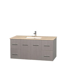 Load image into Gallery viewer, Wyndham Collection 48 inch Single Bathroom Vanity in Gray Oak, Ivory Marble Countertop, Undermount Square Sink, and No Mirror