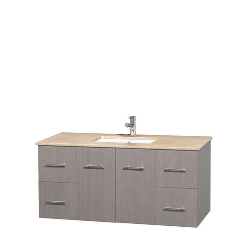 Wyndham Collection 48 inch Single Bathroom Vanity in Gray Oak, Ivory Marble Countertop, Undermount Square Sink, and No Mirror