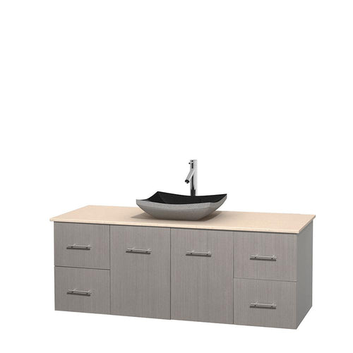 Wyndham Collection 60 inch Single Bathroom Vanity in Gray Oak, Ivory Marble Countertop, Altair Black Granite Sink, and No Mirror