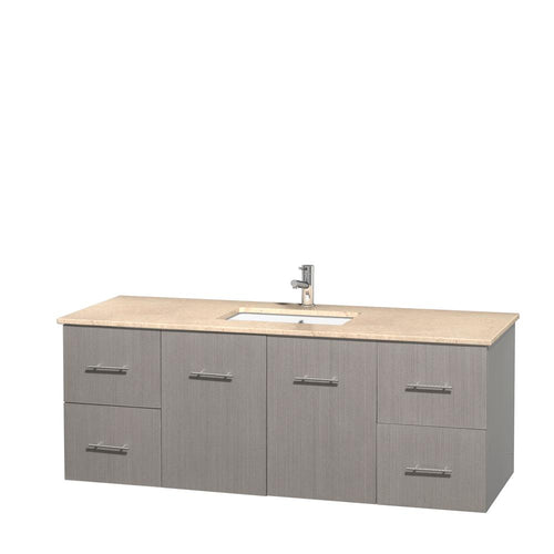 Wyndham Collection 60 inch Single Bathroom Vanity in Gray Oak, Ivory Marble Countertop, Undermount Square Sink, and No Mirror