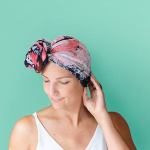 Headscarf - Big Blooms Pink
