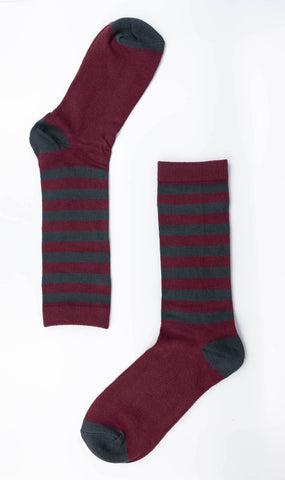 Oxblood & Grey Striped Sock