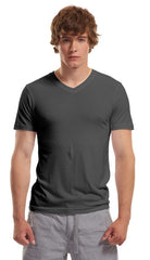 Bamboo Slim Fit V- Neck T-Shirt - Charcoal