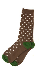 Brown and White Polka Dot Sock