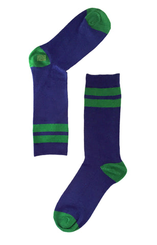 Navy with Green Stripes Sock