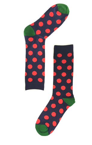 Navy Sock with Red Polka Dots