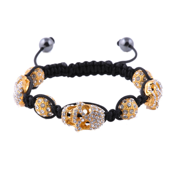 Essence: shamballa style with gold tone skull beads