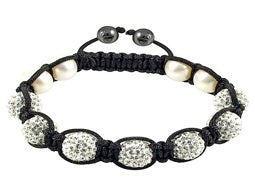 Breathe- Madison & Mulholland Shamballa-style bracelet with faux perals and seven crystal beads