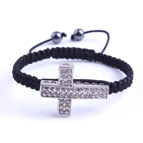 Our Lord's Cross with embedded crystals and black macrame drawstring