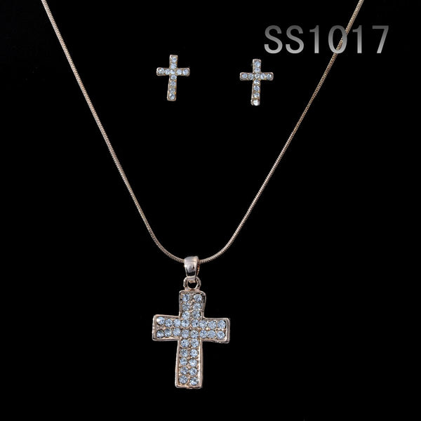 Cross of Francis Set with gold-plated crystal cross pendant and matching piereced earrings