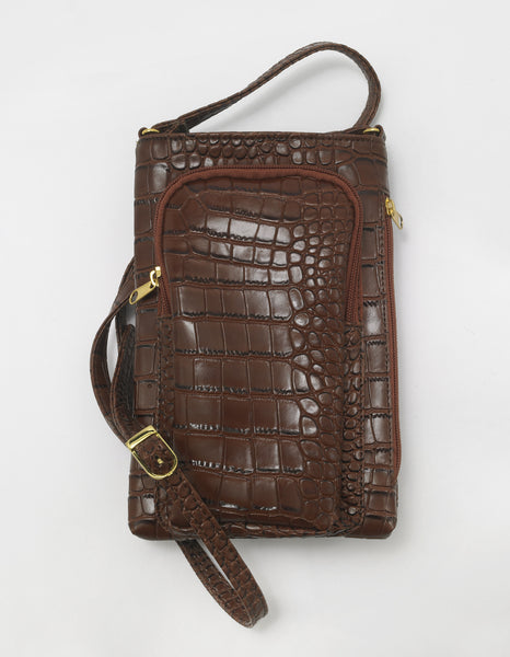 Cell Phone Leather Charging Cross Body Purse