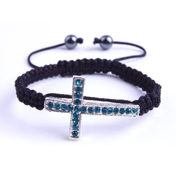 Madiosn & Mulholland's Cross of Francis with Blue Crystals, Black Macrame Closure